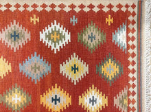 Load image into Gallery viewer, The Rugs Cafe Dhurries Hand Made Wool Persian Tribal Rug with Geometric Pattern [Handmade]