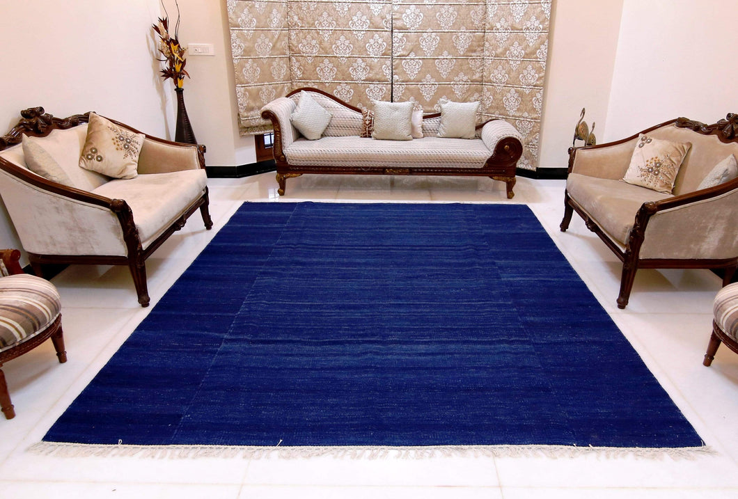 The Rugs Cafe Dhurries Royal Blue Rug - Phoenix Wool Dhurrie Rug [Handwoven]