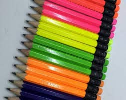 Half Pencils with Eraser - Golf, Classroom, Pew, Short, Mini, Small. Church, Non Toxic - Hexagon, Sharpened, 2 Pencil, Color - (Assorted Neon Colors), (Box of 48) Golf Pocket Pencil