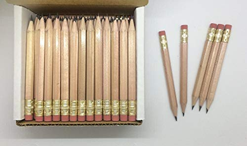 Half Pencils with Eraser - Golf, Classroom, Pew, Short, Mini - Hexagon, Sharpened, Non Toxic, 2 Pencil, Color - Natural, (Box of 48) Golf Pocket Pencils TM by Express Pencils