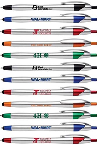 Personalized Ink Pens with Stylus Tip -The Stream- Click action - Custom - Black writing - Printed Name pens - Imprinted with Your Logo/Message - FREE PERSONALIZATION - 12 Pens/Box