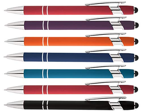 Rainbow Rubberized Soft Touch Ballpoint Pen with Stylus Tips a stylish, premium metal pen, black ink, medium point. Box of 7