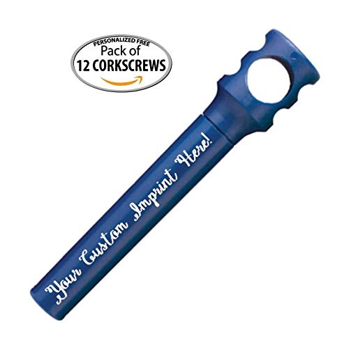 Personalized Pocket Corkscrew - Wine Bottle Opener- Custom Printed - Imprinted with Your Name Logo or Message - Favors - Includes Personalizing - 12 Quantity Box (Assorted Colors)