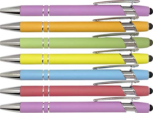Pastel Rubberized Soft Touch | Rainbow of Color | Ballpoint Pen with Stylus Tip a stylish, premium metal pen, black ink, medium point