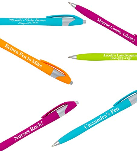 Custom Colored Ink Pens Soft-touch | Neon Ink Colors | Personalized Imprinted Message of Choice - 12 pcs/pack