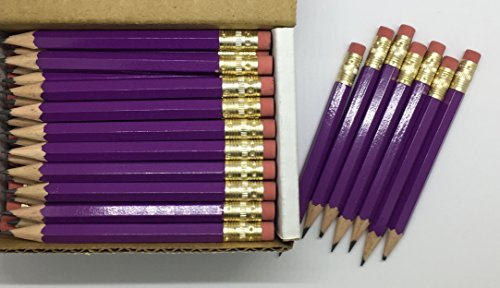 Half Pencils with Eraser - Golf, Classroom, Pew, Short, Mini, Small. Church, Non Toxic - Hexagon, Sharpened, 2 Pencil, Color - Light Purple, Box of 72 (1/2 Gross) Golf Pocket Pencils