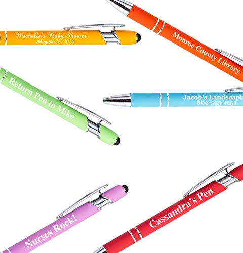 Pastel Premium Custom Pens with Stylus | Personalized Soft-Touch Metal Printed Name Pens w/Black Ink - Imprinted w/Logo or Message - 12 pcs/pack
