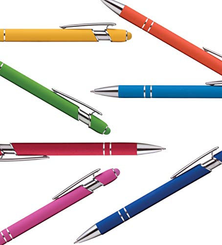 Rubberized Soft Touch | Burst of Color | Ballpoint Pen with Stylus Tip a stylish, premium metal pen, black ink, medium point