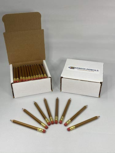 Half Pencils with Eraser - Golf, Classroom, Pew, Parties, Events, Short, Mini, Non Toxic, Hexagon, Sharpened, 2 Pencil, Color: Gold, Box of 72, (1/2 gross) Golf Pocket Pencils