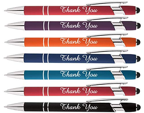 """Thank You"" words imprinted on our Rainbow Soft Touch Ballpoint Pen with Stylus Tip is a stylish, premium metal pen, black ink, medium point. Box of 7"