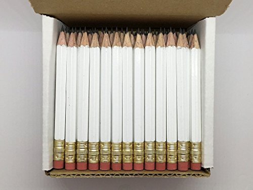 Half Pencils with Eraser - Golf, Classroom, Pew, Short, Mini, Non Toxic- Hexagon, Sharpened, 2 Pencil, Color - (White, Box of 144), Pocket PencilsTM