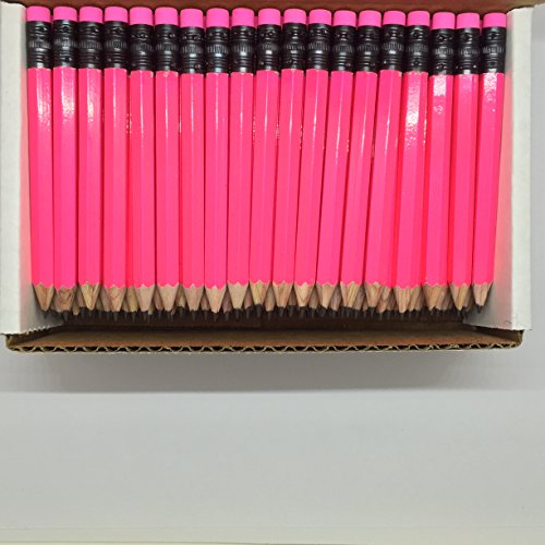 Half Pencils with Eraser - Golf, Classroom, Pew, Short, Mini, Non Toxic, Hexagon, Sharpened, 2 Pencil, Color: Neon Pink, Box of 72, (half gross) Golf Pocket Pencils TM