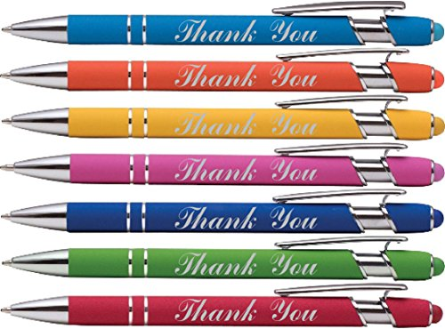 """Thank You"" wording imprinted Pen - Laser Engraved on our Rainbow Rubberized Soft Touch Ballpoint Pen with Stylus Tip is a stylish, premium metal pen, black ink, medium point."
