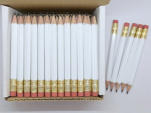 Half Pencils with Eraser - Golf, Classroom, Pew, Short, Mini, Non Toxic- Hexagon, Sharpened, 2 Pencil, Color - White, Box of 72, Pocket PencilsTM