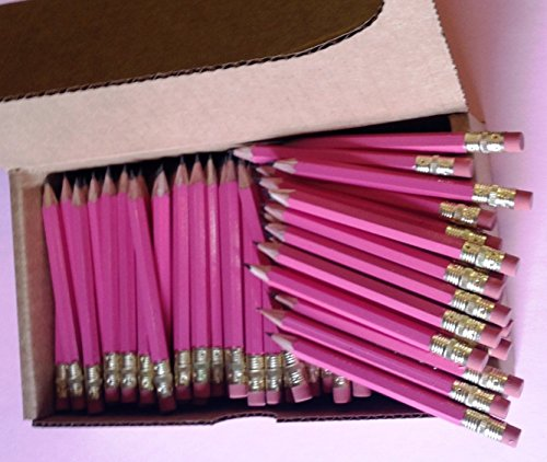Half Pencils with Eraser - Golf, Classroom, Pew - Hexagon, Sharpened, 2 Pencil, Color - Pink, Box of 72 Pocket Pencils