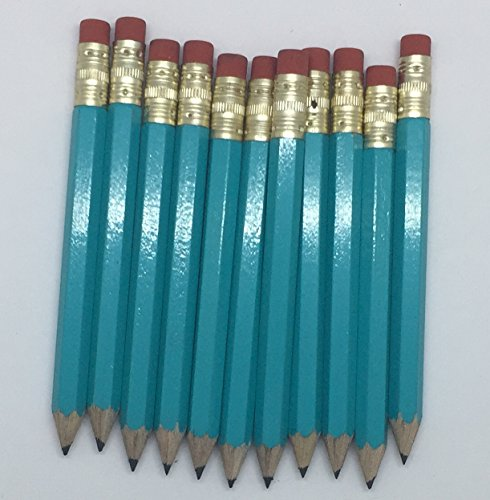 Half Pencils with Eraser - Golf, Classroom, Pew, Short Mini Non Toxic - Hexagon, Sharpened, 2 Pencil, (Color - Light Turquoise), (Box of 72) half gross Golf Pocket Pencils by Express Pencils