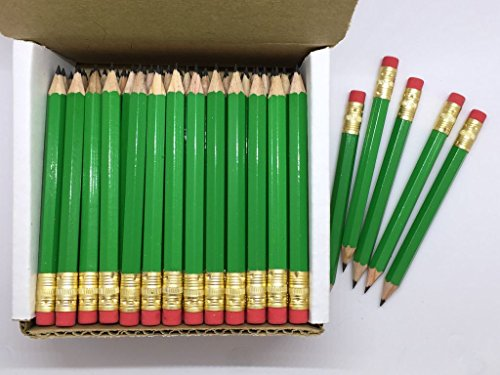 Half Pencils with Eraser - Golf, Classroom, Pew, Short, Mini, Non Toxic- Hexagon, Sharpened, 2 Pencil, Color - Green, Box of 72 (half gross) Golf Pocket Pencils