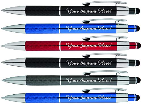 Customized Pens with Stylus - The Prestige Metal Pen - Custom Printed Name Pens with Black Ink Personalized & Imprinted with Logo or Message -Great Gift Ideas- FREE PERSONALIZATION - 6 pack
