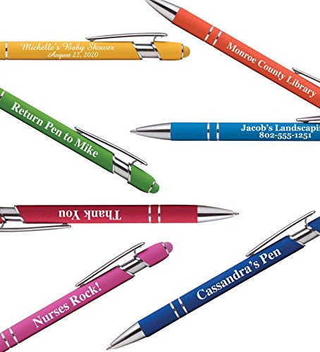 Premium Custom Pens with Stylus | Burst of Color | Personalized Soft-Touch Metal Printed Name Pens w/Black Ink - Imprinted w/Logo or Message - 12 pcs/pack