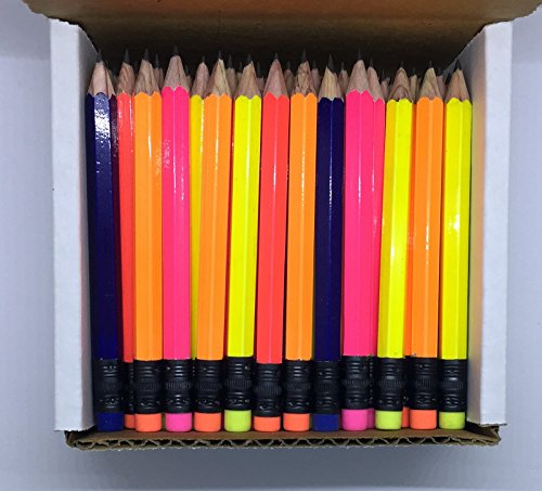 Half Pencils with Eraser - Golf, Classroom, Pew, Short, Mini, Small. Church, Non Toxic - Hexagon, Sharpened, 2 Pencil, Color - (Assorted Neon Colors), (Box of 72) 1/2 Gross Golf Pocket Pencil