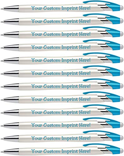 Custom Pens with Stylus - The Pearl - Personalized Metallic Printed Name Pens with Black Ink - Imprinted with Logo or Message - Great Gift Ideas - FREE PERSONALIZATION 12 pack