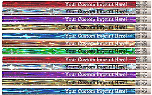 Personalized Pencils - Round - Laser Theme - Custom Printed with your message, text or logo - by Express Pencils - 12 pkg FREE PERZONALIZATION Great gift idea