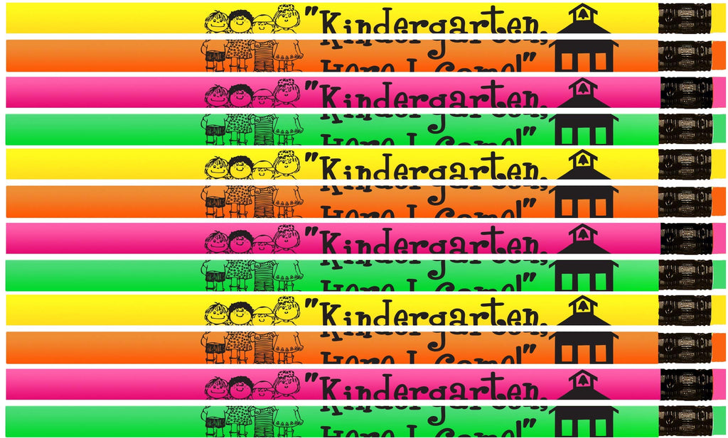 Kindergarten, Here I Come Pencils! Neon Kindergartener Pencils - 36 Qty Package - Express Pencils