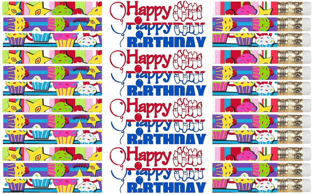 D2517 Happy Birthday Cupcakes - 36 Qty Package - Express Pencils