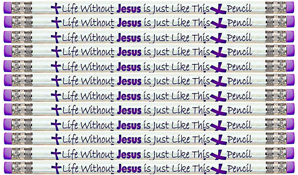 D1977 Life Without Jesus is Just Like This Pencil - No Point to It - 36 Qty Package - Christian Themed Pencils - (Eraser at Both Ends!) - Express Pencils