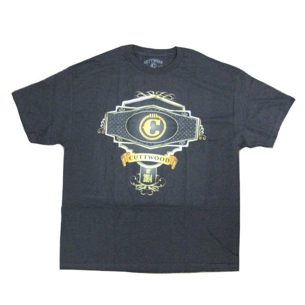 Cuttwood - Label T-shirt - black/gold - Front