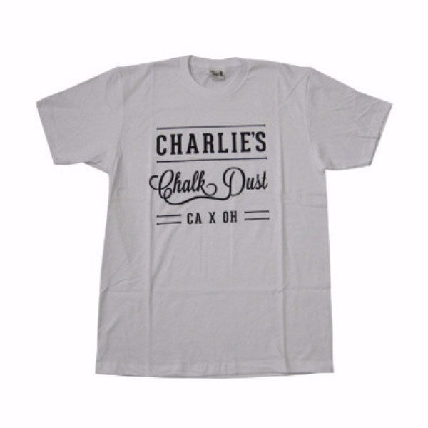 Mens T-shirts - Charlie's Chalk Dust - Label T-shirt - White