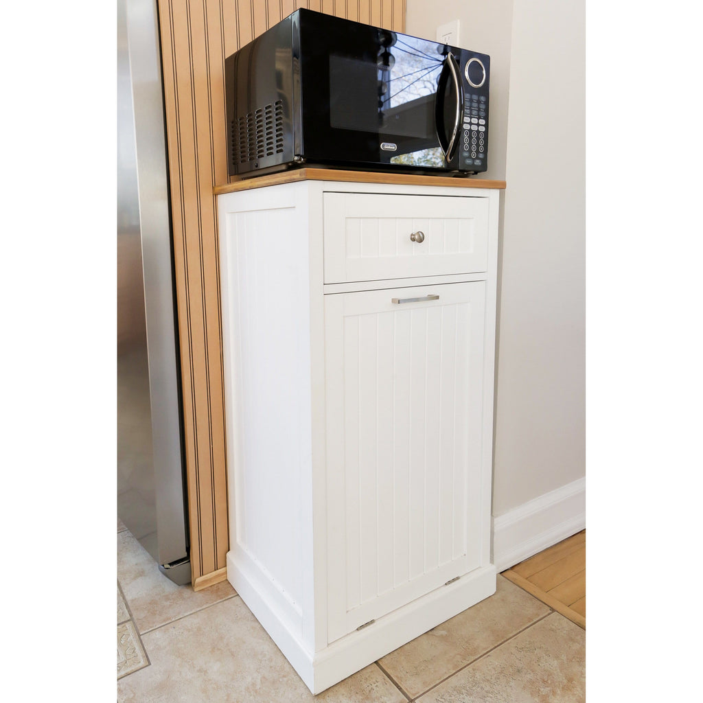 Spacemaster Microwave Kitchen Cart With Hideaway Trash Can Holder And Spacemaster