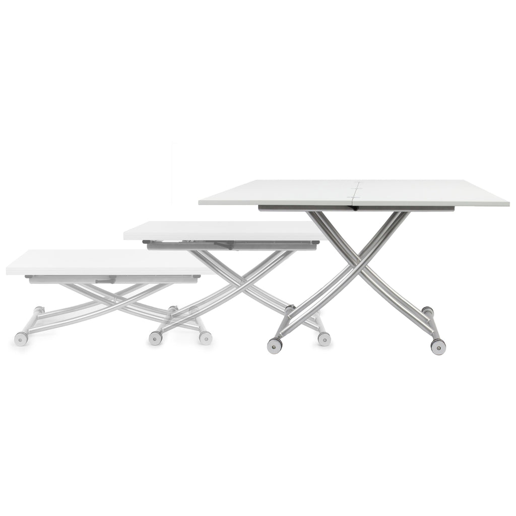 SpaceMaster Transforming X Coffee and Dining Table 2.0, Glossy White