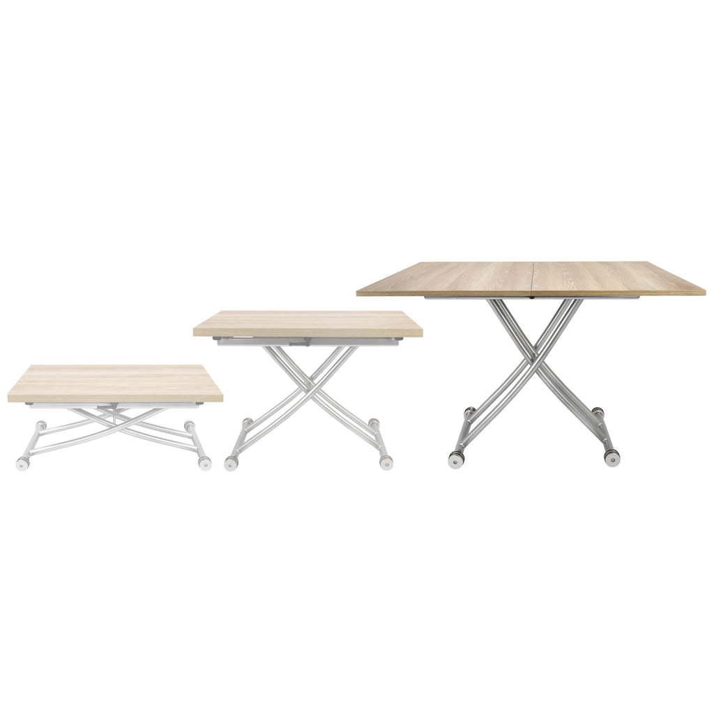 SpaceMaster Transforming X Coffee and Dining Table 2.0, Light Wood