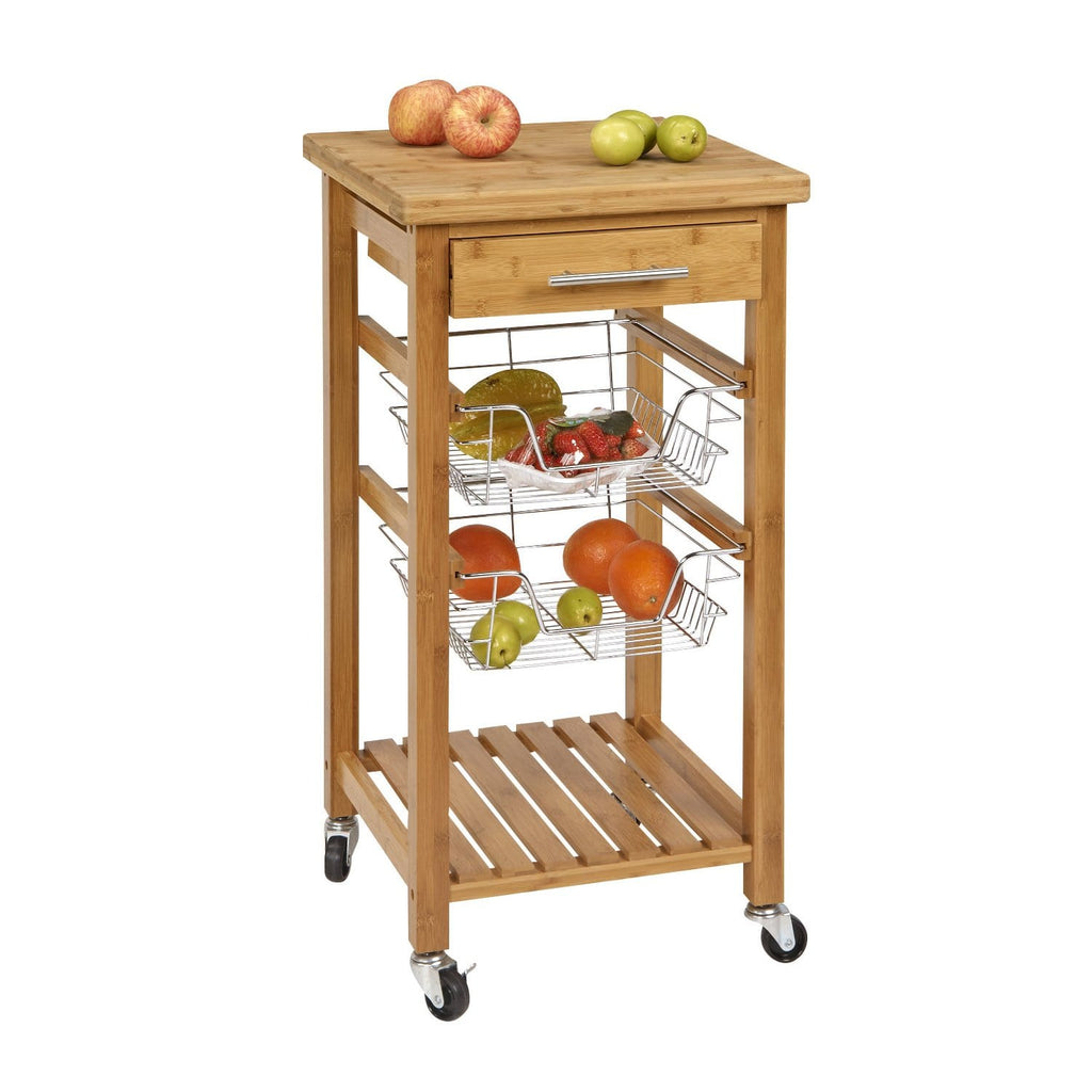 SpaceMaster Rolling Bamboo Kitchen Trolley Utility Cart with Butcher Block Wood Cutting Board Top and Wire Storage Baskets, Natural Wood