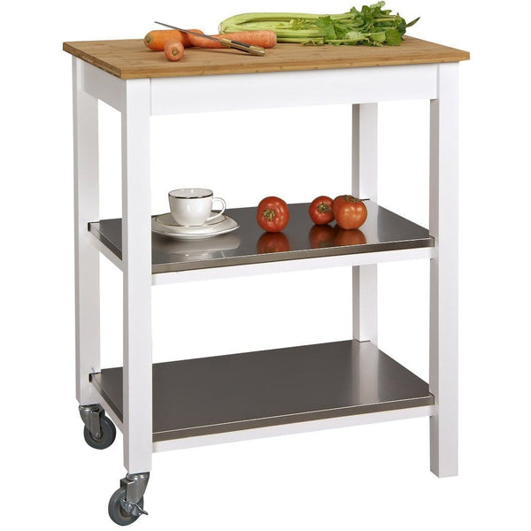 SpaceMaster Ultimate Rolling Counter Height Kitchen Island with Cutting Board, White/Bamboo Top