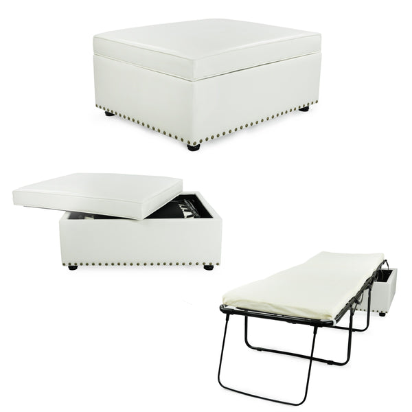 SpaceMaster iBED Convertible Ottoman Foldaway Bed Sleeper Cot Faux Leather Single Size, White