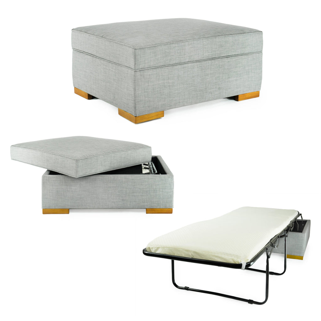 SpaceMaster iBED Convertible Ottoman Foldaway Bed Sleeper Cot Fabric Single Size, Gray
