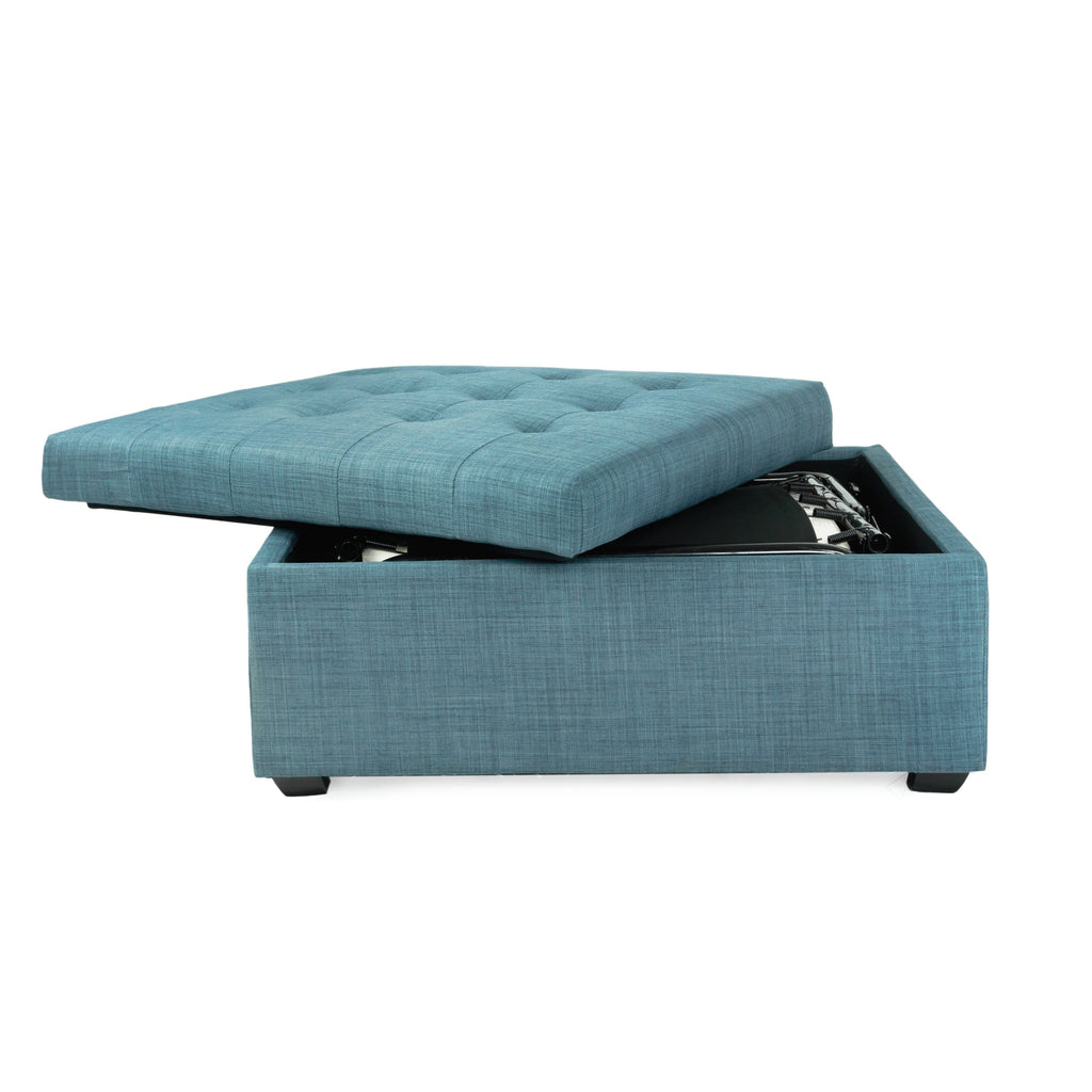 Awesome Ibed Convertible Ottoman Guest Bed In Blue Fabric Spacemaster Cjindustries Chair Design For Home Cjindustriesco