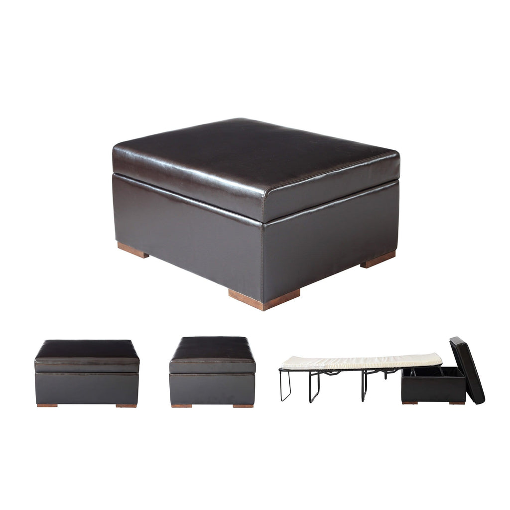iBED Convertible Ottoman Guest Bed in Dark Espresso