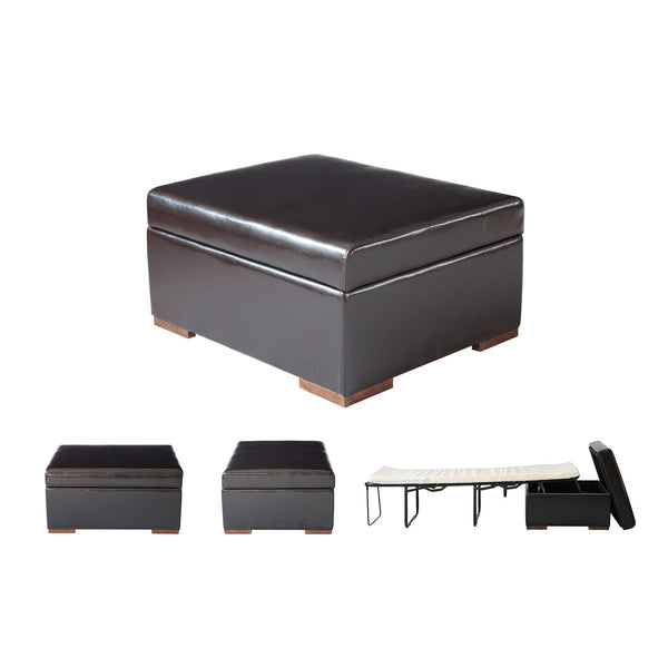 SpaceMaster iBED Convertible Ottoman Foldaway Bed Sleeper Cot Faux Leather Single Size, Dark Espresso Brown