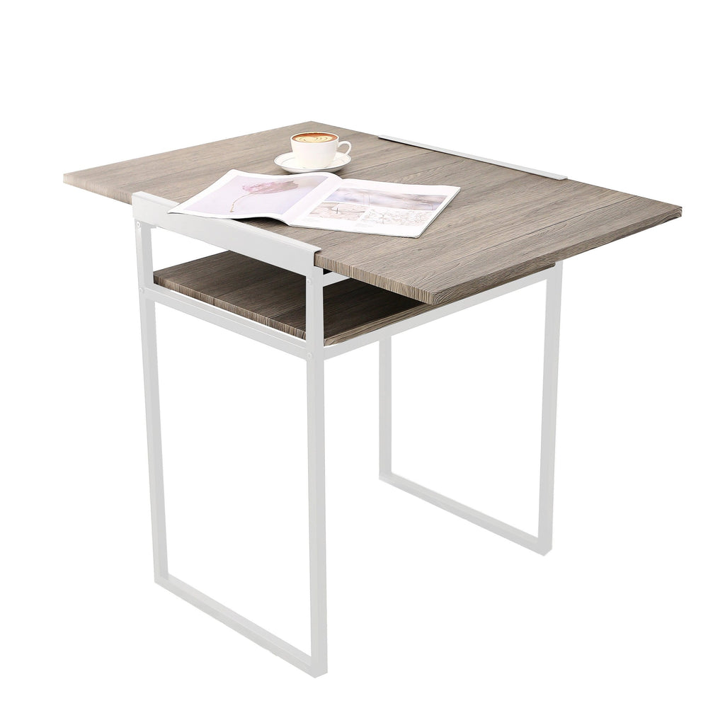 SpaceMaster Space Saving Apartment Size Computer Desk and Drop Leaf Folding Table, Brown/White