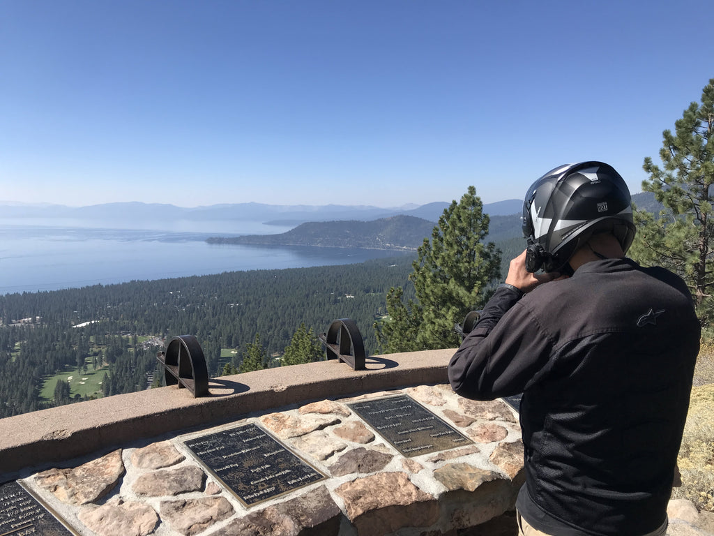 lake tahoe motorcycle helmet rider view vista tour guided usa