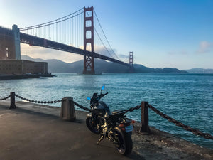 San Francisco Golden Gate bridge and Yamaha MT-07 as seen from Native Motorcycle Adventures tour