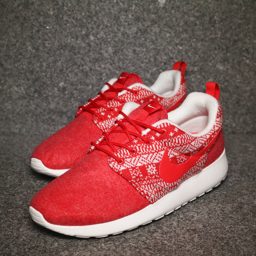 Off centre view of the Women's Roshe Winter University Red White at Solemate Sneakers Sydney