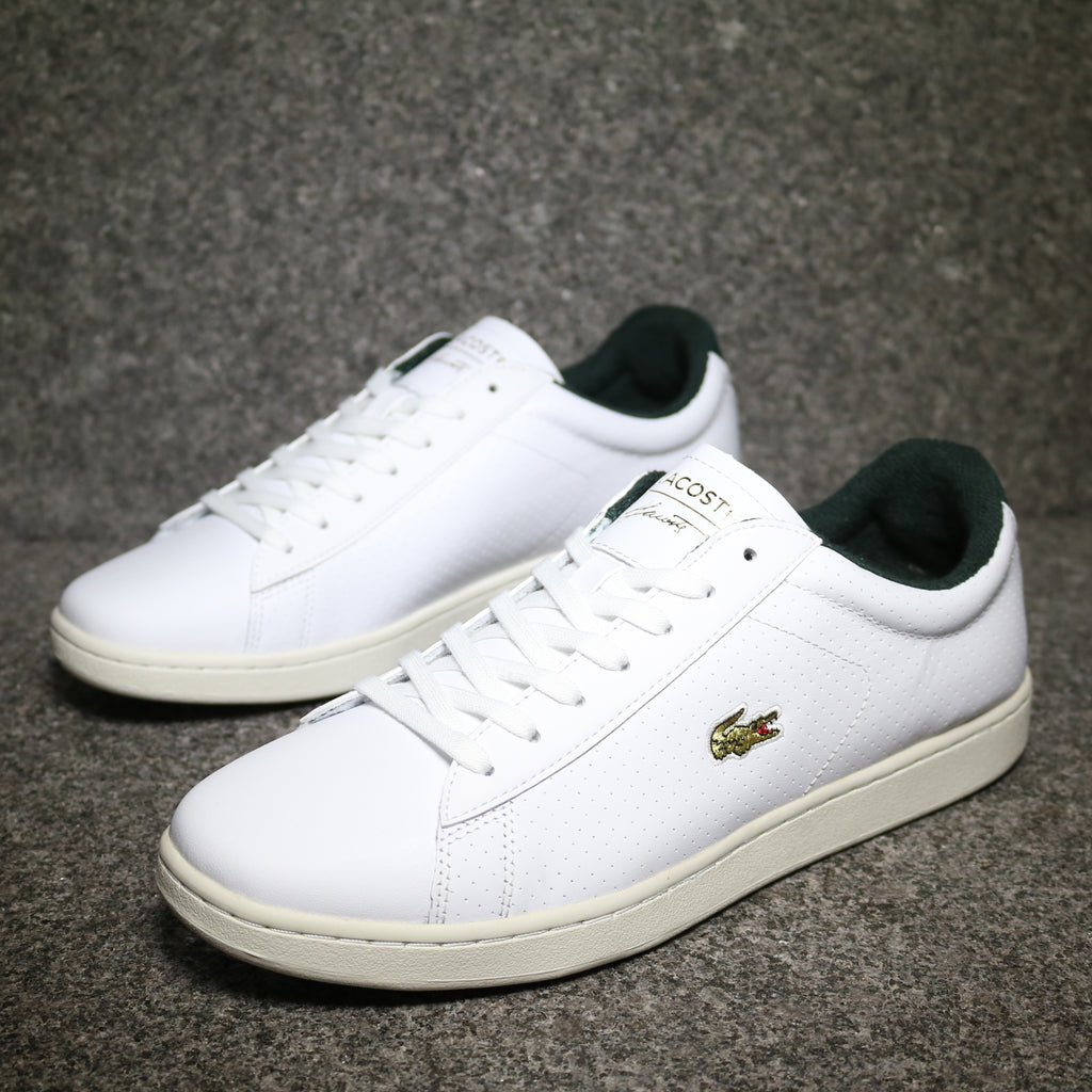Off Centre view of the Lacoste Carnaby EVO 317 White Green Leather at Solemate Sneakers Sydney