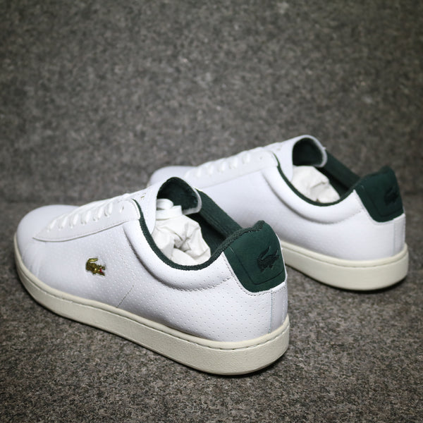 Rear view of the Lacoste Carnaby EVO 317 White Green Leather at Solemate Sneakers Sydney
