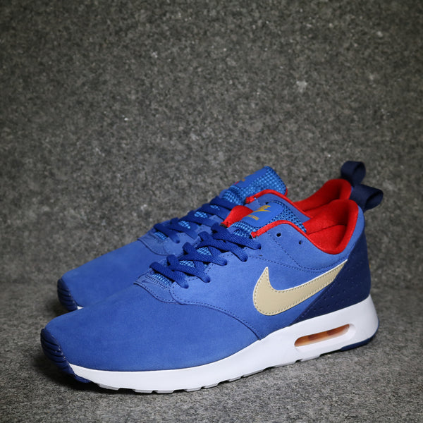 Air Max Tavas Leather Game Royal Metallic Gold University Red