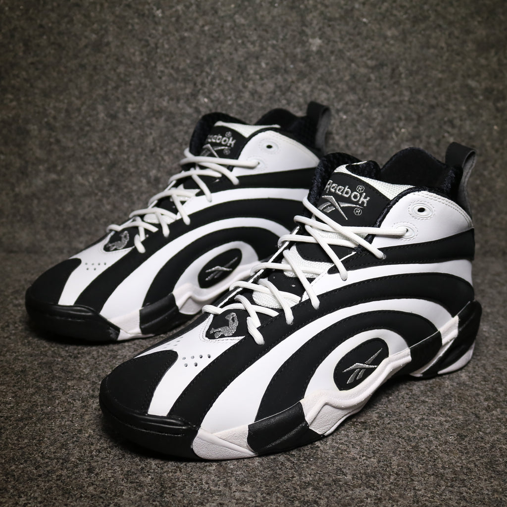 Off Centre view of the Reebok Shaqnosis OG Black White at Solemate Sneakers