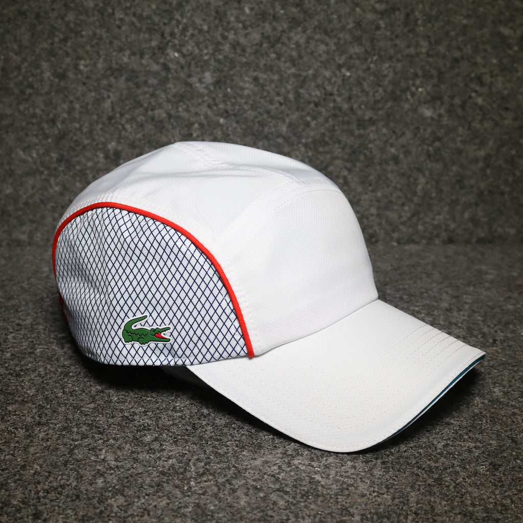 Off Centre view of the Lacoste Dry Fit Training Cap White at Solemate Sneakers Sydney